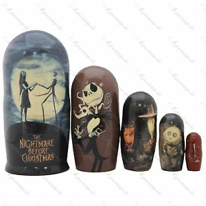 The Nightmare Before Christmas Jack and Sally AMAZING NESTING DOLL ART gift