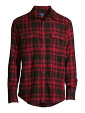George Manga Larga Cuadros Camisa de Franela Hombre Talla 3XL (54-56) Rojo Negro