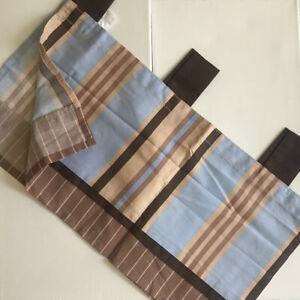 "Kenneth Brown Handsome Puppy Valance 44x14"" Brown, Tan, Blue Stripes Baby"