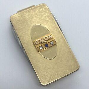 Vtg 12K Gold Filled Money Clip EXXON OIL Service Award with Diamond + Sapphire