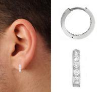 14K Solid White Gold Unisex Single CZ Huggie Hoop Earring 11mm Huggy (1/2 Pair)