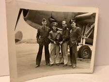 ORIGINAL WWII PHOTO Pilots Standing in Front of Plane Holding GRAFLEX Camera
