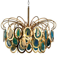 Modern Chandelier Luxury Agate Suspension Pendant Light Ceiling Lamp Fixture New