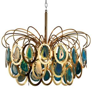 Modern Chandelier Luxury Agate Suspension Pendant Light Ceiling Lamp Fixture New