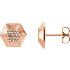 Diamond Geometric Cluster Earrings In 14K Rose Gold (1/6 ct. tw