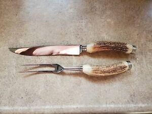Vintage Bone Antler Handle Meat Carving Knife And Fork Set Solingen Germany
