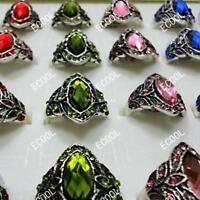 20pcs Crystal Rhinestones Retro Alloy Rings Silver Wholesale Lots Jewelry Mix BF