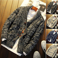 2018 Men's Chunky Collared Cardigan Coat Sweater Shawl Thick Warm Knitted Jumper