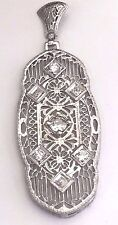 14k White Gold Vintage Art Deco Diamond Pendant