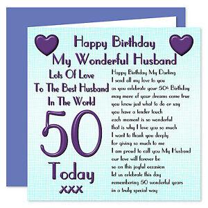My Wonderful Husband Lots Of Love Happy Birthday Card - Age Range 30 - 100 Years