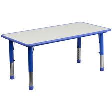 23.625W X 47.25L Height Adjustable Rectangular Blue Plastic Activity Table New