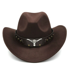 Wide Brim Western Cowboy Hat Cowgirl Cap Wool Blend Summer for Men Women BDBK