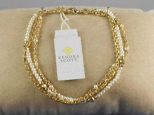 Kendra Scott Gold Plated SCARLET Delicate Chain Faux Pearl Multi Strand Bracelet