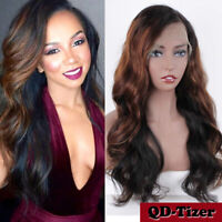 Brazilian Glueless Wavy Lace Front Human Hair Wig Ombre Highlight Full Lace Wigs
