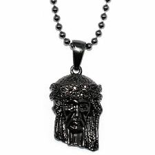 Black Gunmetal Plated and CZ Micro Jesus Piece with 30 inch ball chain Necklace