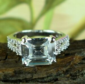 White Diamond 7.05 Ct Emerald Cut  Solitaire Unisex Silver Halo Ring Great Gift