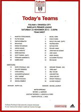 Teamsheet - Fulham v Swansea City 2013/14