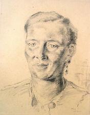 Curt Wittenbecher 1901-1978 / Zeichnung Portrait der Ehefrau Hildegard 24.3.1948