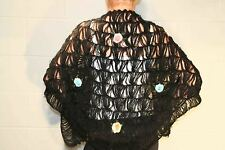 Vtg 70s BARR & BEARDS BLACK LACE CROCHET EMBROIDERED FLOWERS SHAWL WRAP SWEATER