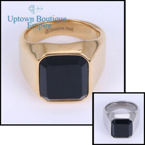 Men's Stainless Steel Black Square Onyx Gold Silver Band Ring Size 7-13 #E