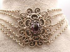 Wunderbar gehaltenes Collier/Kropfkette in Silber TRACHT Jagd mit Granate