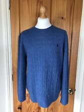 POLO RALPH LAUREN-Cable Knit Wool/Cashmere Mix Jumper Sweater Blue -Size L -BNWT