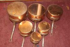 VINTAGE FRENCH HAVARD SET OF 6 COPPER SAUCEPANS CAST IRON HANDLES