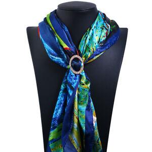 Lady Vintage Rhinestone Scarf Clip Ring Silk Chiffon Buckle Scarf Decoration