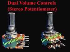 5pcs 50k volume Potentiometer Stereo Audio Dual Rotary Control HiFi Sound
