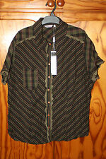 BNWT WOMENS PER UNA BLOUSE TOP CRINKLE EFFECT GREEN MIX SIZE 18