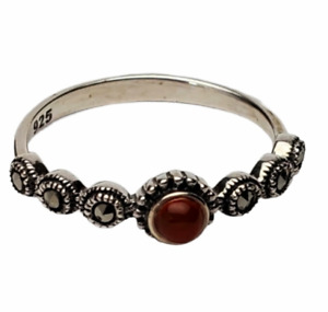 925 Silver Marquesite thin Ring size 7