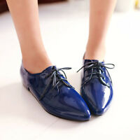 Women's Patent Leather Oxfords Lace Up Pointed Toe Flat Heels British Shoes PLUS