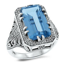 4.5 Ct SIM AQUAMARINE ANTIQUE DECO STYLE .925 SILVER FILIGREE RING Sz 5,    #120