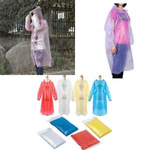 Packs of 10 Emergency Rain Ponchos Raincoat Hood Festival Waterproof