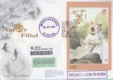 Macau Stamp Postal mail FDC 2002 Filial Love + MS GPOPR MO136936