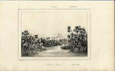 Stampa antica SIRACUSA la mitica Fonte CIANE Sicilia 1845 Old antique print