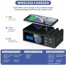 JCOTTON Wireless Charger 6 USB Port 48W Quick Charge QC3.0 LCD Display 2 Phone