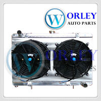 For Nissan Silvia radiator+Shroud+Fans S13 SR20DET 1989-1994 3 rows Aluminum MT