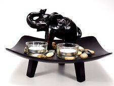 Square Plate Candlestick with Glass, Elephant Ornament Home Decor Christmas Gift