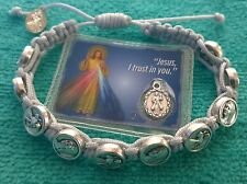 Medjugorje bracelet gray Catholic handmade bracelet Divine Jesus Our Lady medal