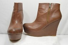 Mossimo Brown Fashion Dress Casual Platform Wedge Zip Ankle Boot Heels Size 10