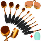 10Pcs Professional Makeup Brushes Set Oval Cream Puff Toothbrush Brush Rose Gold