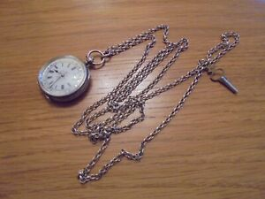 antique solid silver fob pocket watch and chain