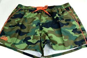 NWT $99 Sundek Green Camoflauge Swim Trunks Shorts Neon Orange Striped