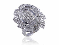 Classy 2.18 Cts Natural Diamonds Cocktail Ring In Solid Certified 14K White Gold