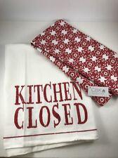 "Towels Tea  Kitchen 2 piece set. ""Kitchen Closed"" ""Kitchen Open"" Red and White"