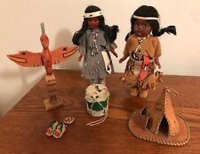 American Indian Souvenir Lot Dolls Totem Pole Drum Mocassins Tee Pee