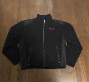 Men's Spyder Logo Fleece Lined Full Zip Black Jacket/Coat Sz S