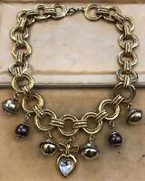 Vintage Gold Tone Substantial Charm Necklace