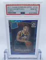 2017 Donruss Optic Rated Rookie Purple Holo Donovan Mitchell Psa 10 Rc Jazz